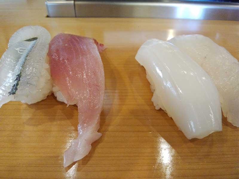 サヨリ・ハガツオ・真イカ・ヒラメの寿司